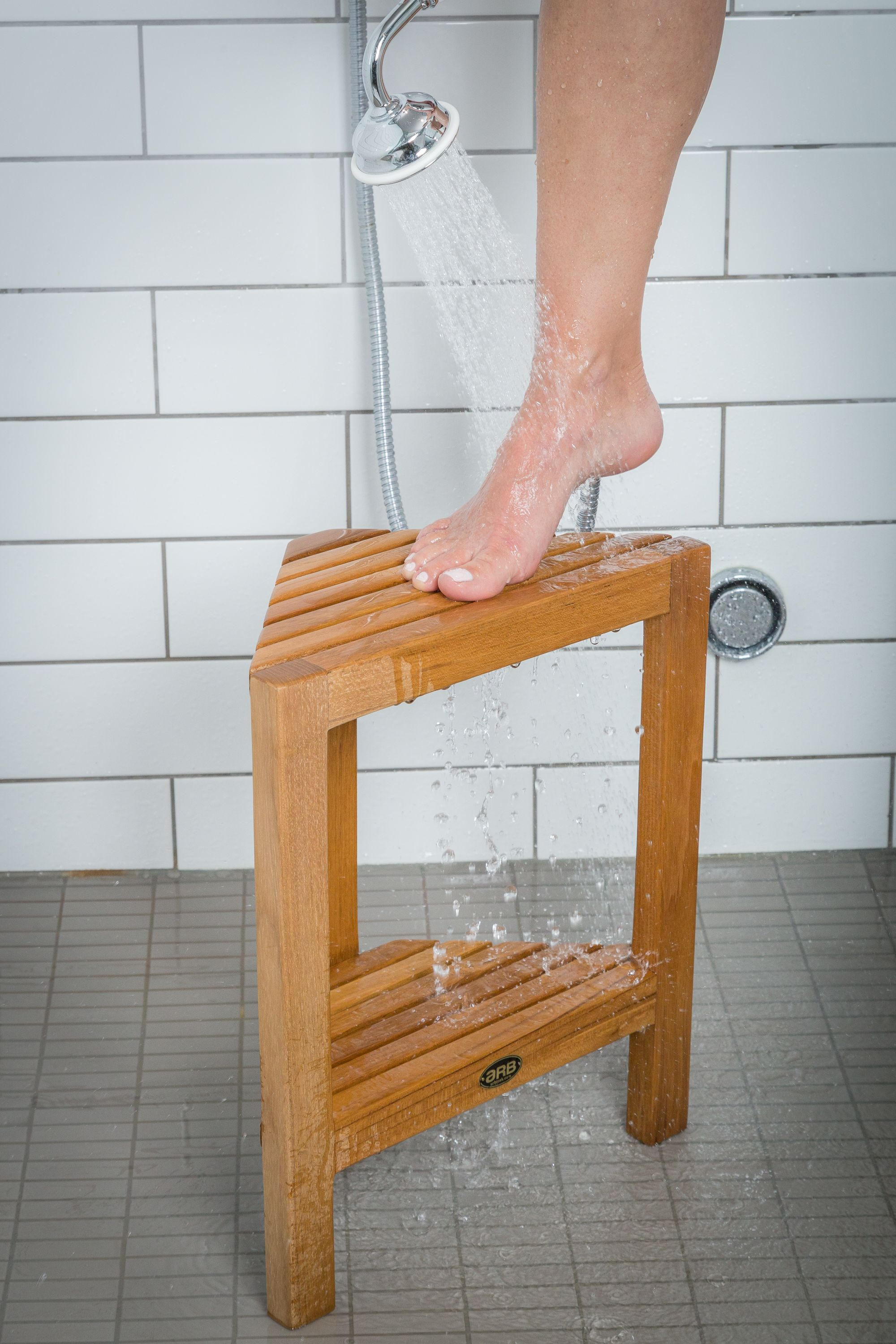 The Fiji Corner Foot Rest Available With Or Without Shelf It Makes A Great Addition To Any Bathroom Space Foot Rest Teak Shower Bench Remodel
