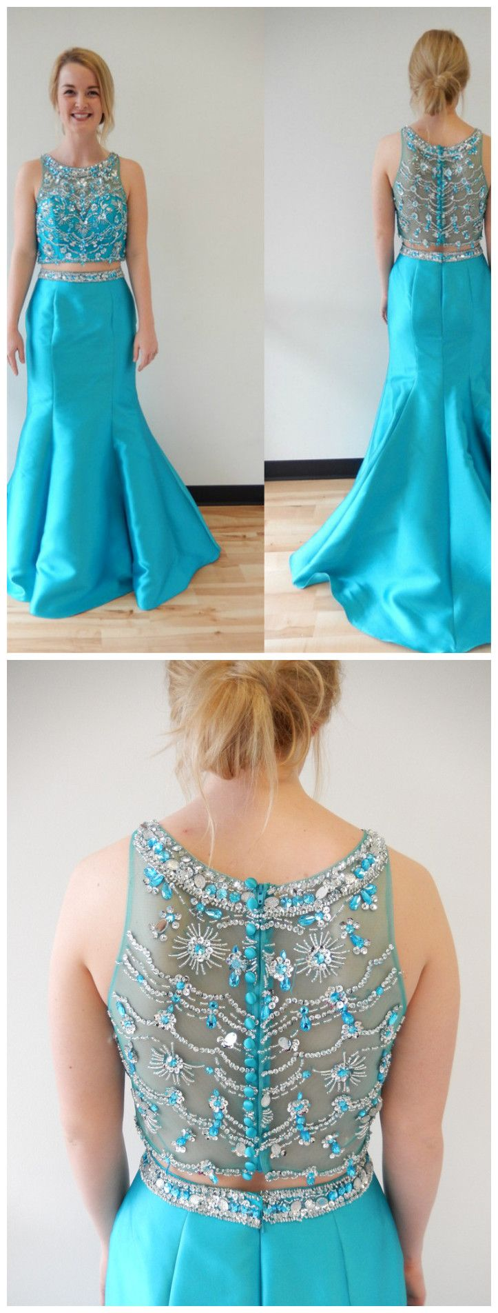 Two piece bare midriff scoop neck floor length prom dresses asd