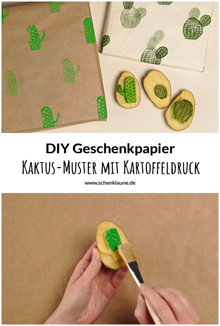 kaktus geschenkpapier mit kartoffeldruck gestalten diy. Black Bedroom Furniture Sets. Home Design Ideas