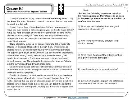 Week 20 Reading Comprehension D 20 A Short Passage About Electricity Conductors And Reading Worksheets Reading Comprehension 4th Grade Reading Worksheets Science comprehension worksheets 4th