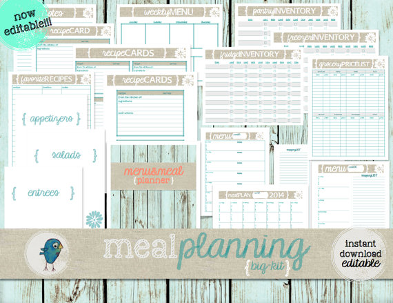 Meal/Menu Planning BigKit EDITABLE Meal/Menu by createSerenity, Everything you could EVER need for meal planning!!