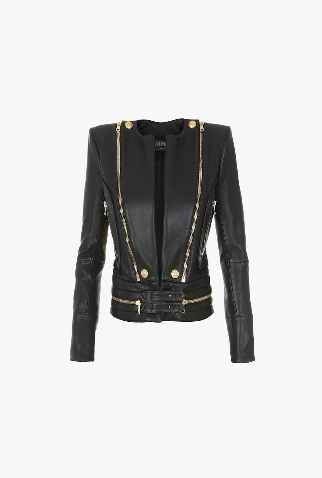 Leather Jacket With Gold Tone Zipper Accents For Women Balmain Com Denim Mini Dress Coats For Women Black Leather Pants [ 1807 x 1220 Pixel ]