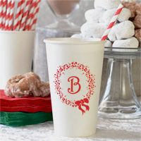 16 Oz. Holiday Wreath Personalized Paper Christmas Cups