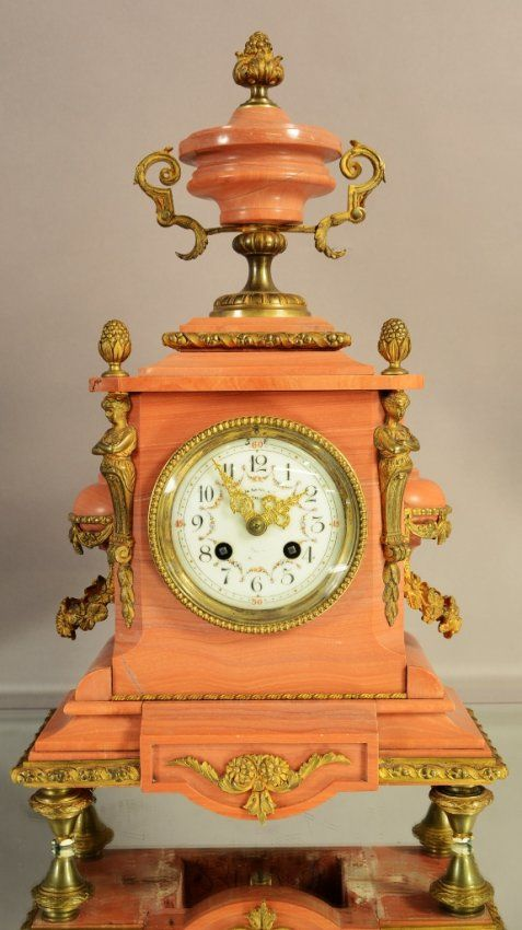French Louis XIV Style Bronze & Marble Clock - c 1880