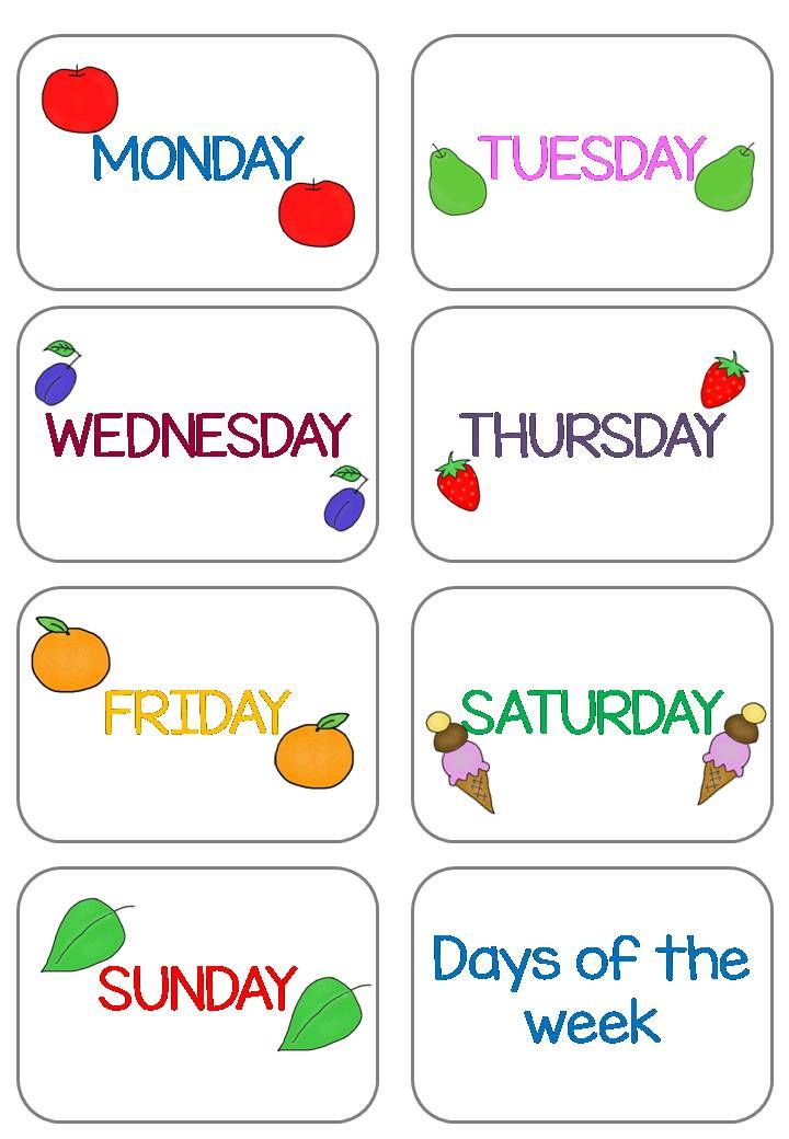 Days Of The Week Flashcards That Matches The Very Hungry Caterpillar English Lessons For Kids Learning English For Kids Flashcards