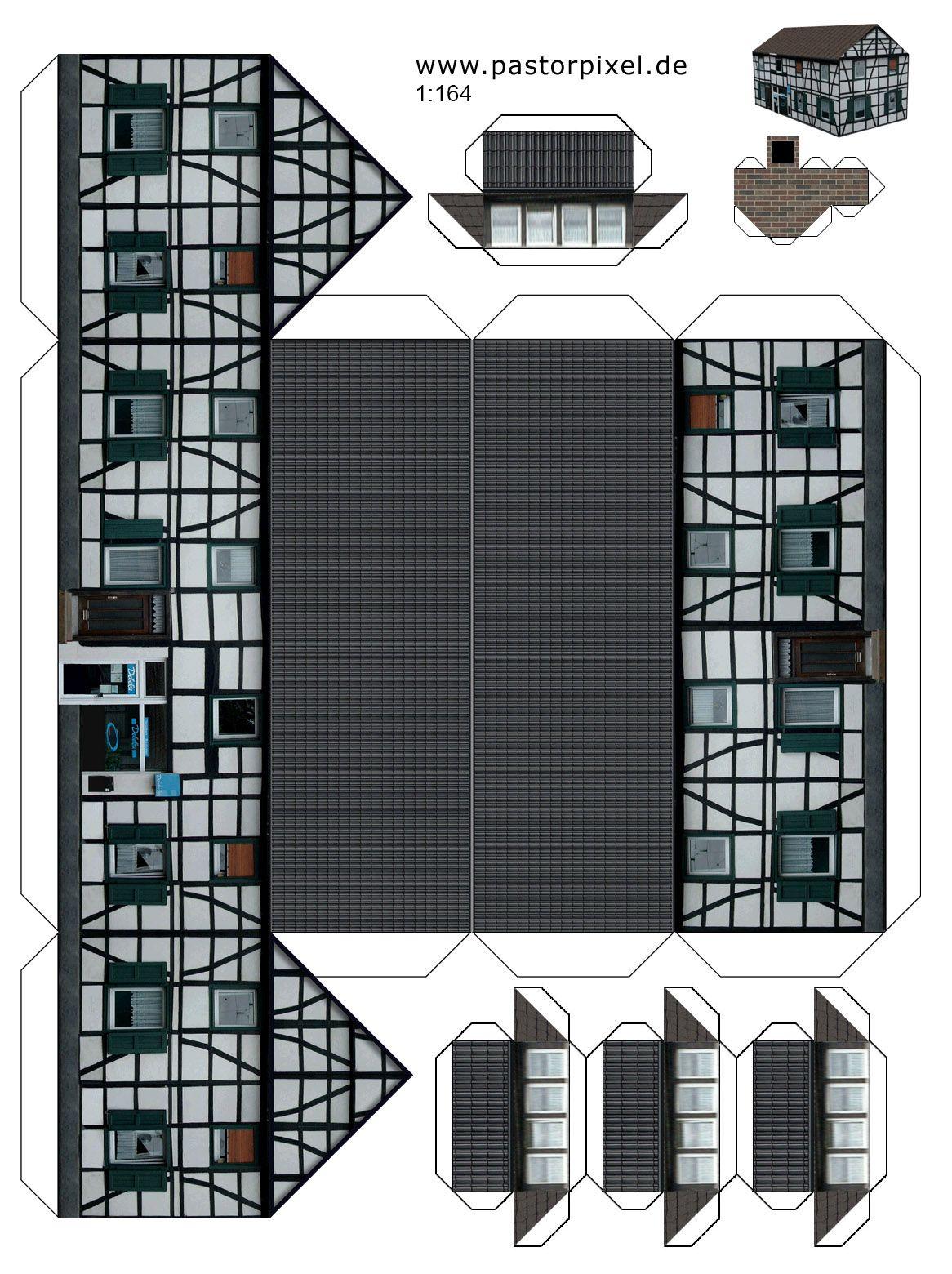 Ausschneidebogen Haus 1 Printables Houses Pinterest Paper