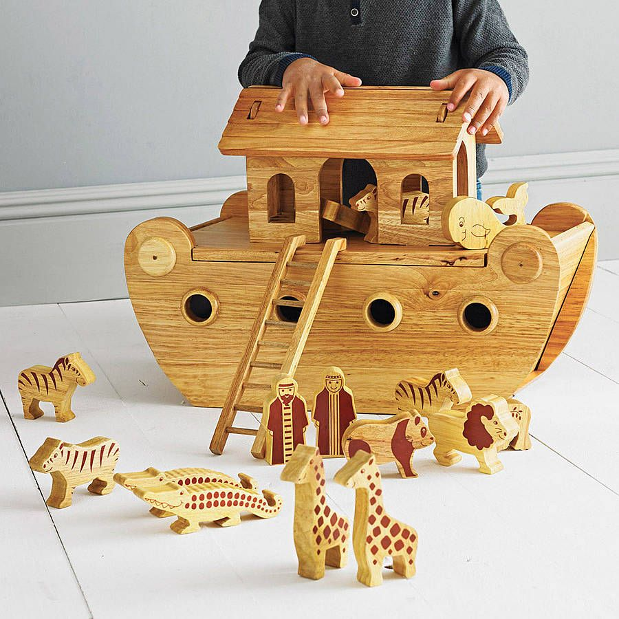 Wooden Noahs Ark And Animals By Knot Toys Notonthehighstreetcom
