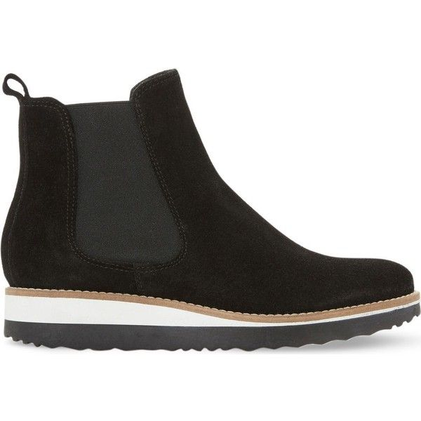 Dune Pontow suede flatform chelsea boots ($115) ❤ liked on Polyvore featuring shoes, boots, beatle boots, chelsea boots, black suede shoes, short heel boots and suede chelsea boots