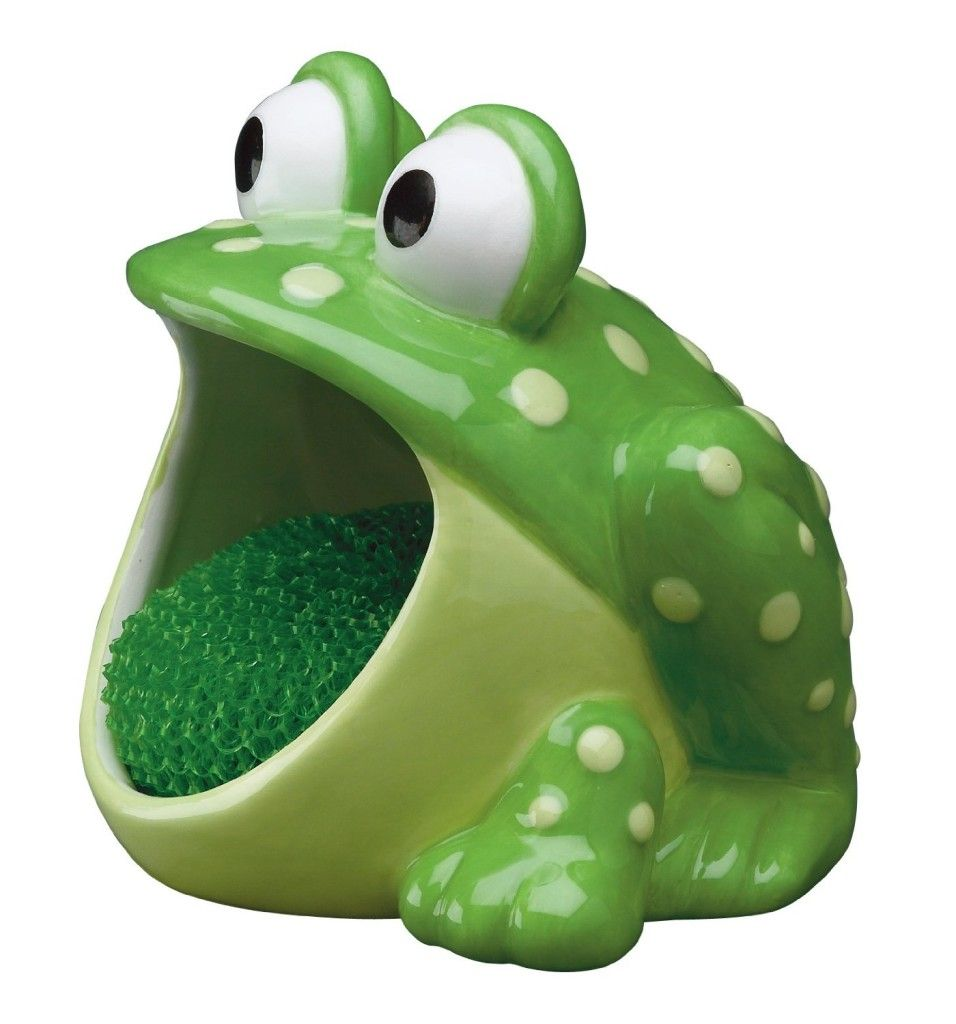 Decor Decoration Frog Frog Mouth Open Big Eyes Green Color White