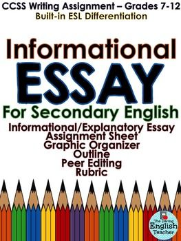 English Essays For Students This Common Core Informationalexpository Essay Pack Includes Two Informational  Essay Topics A Brainstormingprewriting Organizer An Essay Outline  Do My Asingment For Me also Persuasive Essays Examples For High School Informational Essay  Common Core  Secondary English  My Tpt Store  Essay On Science