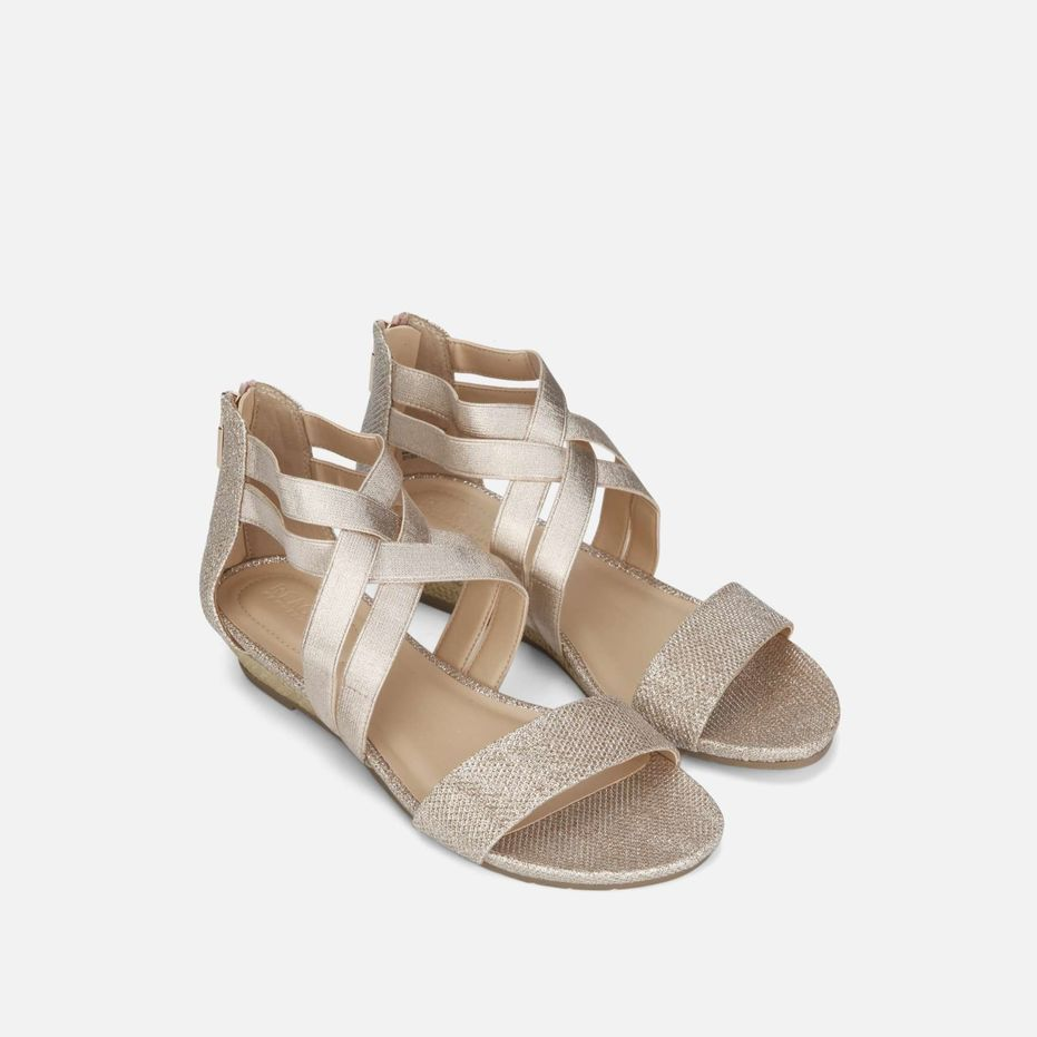 fa4c6fdedd Great Stretch Fabric Wedge Sandal, ROSE GOLD   Clothed   Wedge ...
