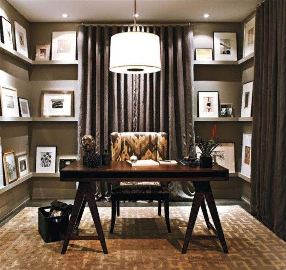 Modern Home Office Design With Dark Brown Wooden Desk Under Round White Pendant Lamp With Small Table Rustic Home Offices Small Home Office Home Office Design