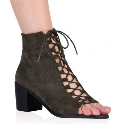 Anya Lace Up Boots in Khaki Faux Suede