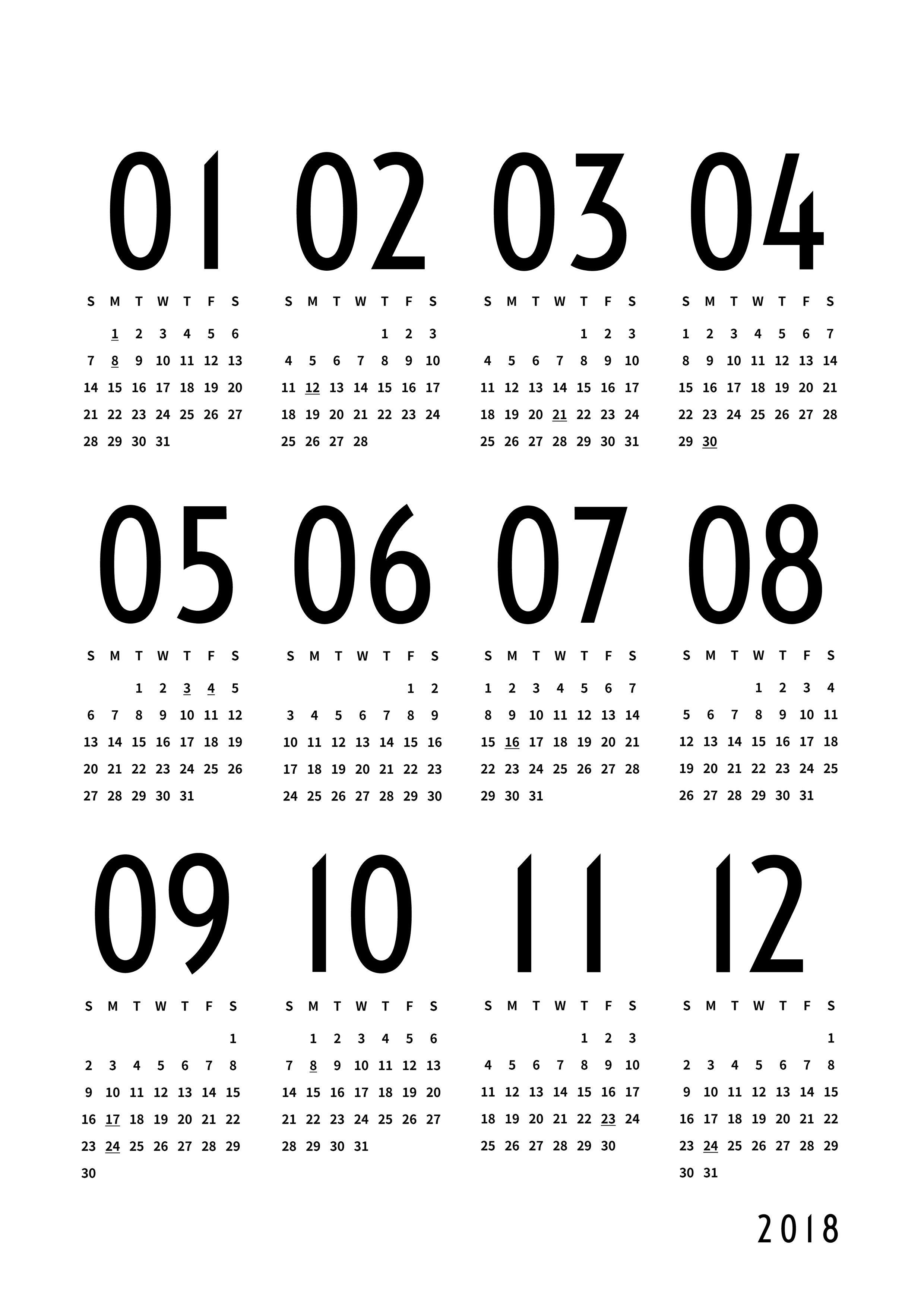 モノトーンな2018カレンダー Monotone Sozai カレンダー 2018 アイデンティティーデザイン カレンダー