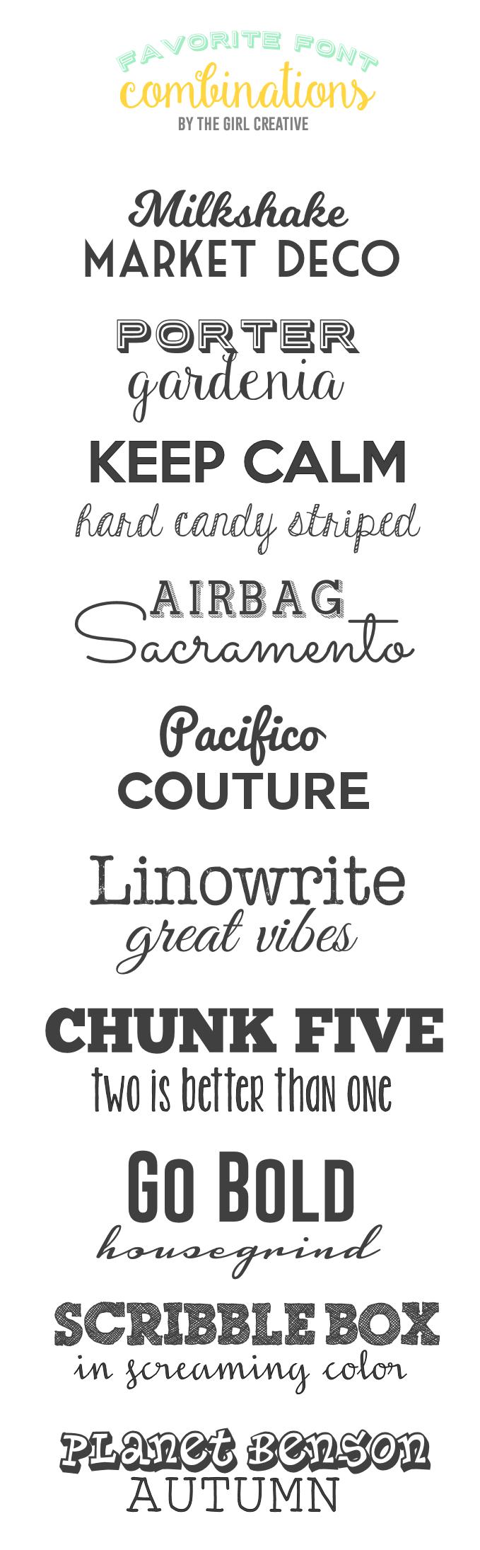 Favorite Font binations