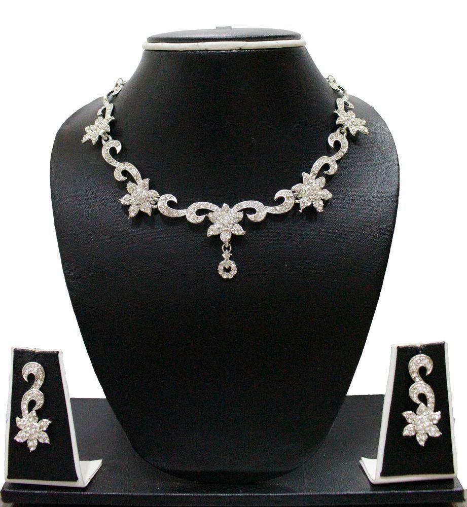 ZAVERI PEARLS -ZPFK586- DESIGNER NECKLACE SET,BOLLYWOOD,AUSTRIAN DIAMOND #ZAVERIPEARLS