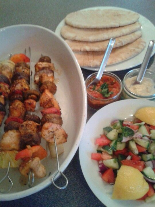 Turkish Chicken Kebabs With Chilli Sauce Humous Salad And Flat