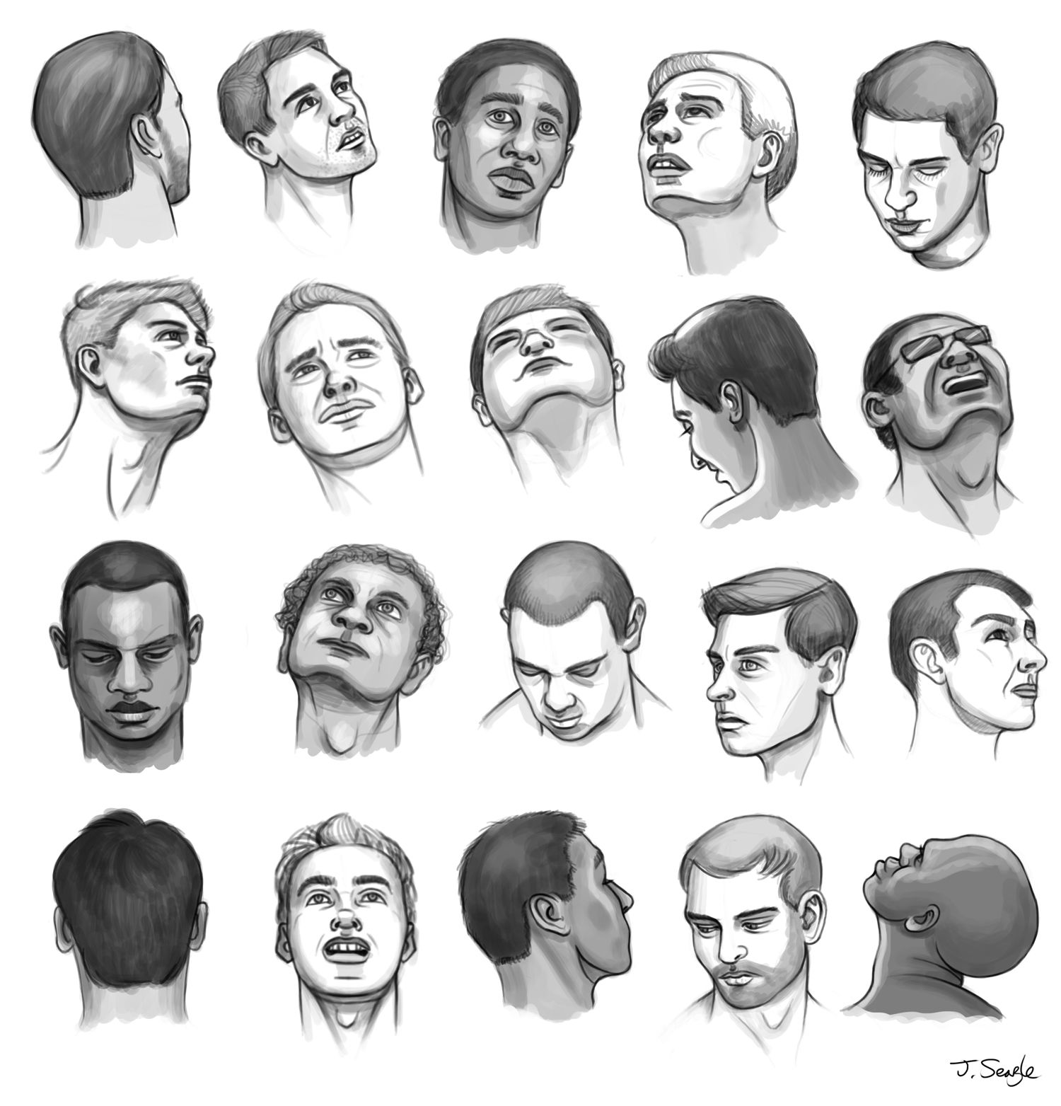Jeff Searle Drawing The Head From Different Angles Drawing The Human Head Face Angles Male Face Drawing