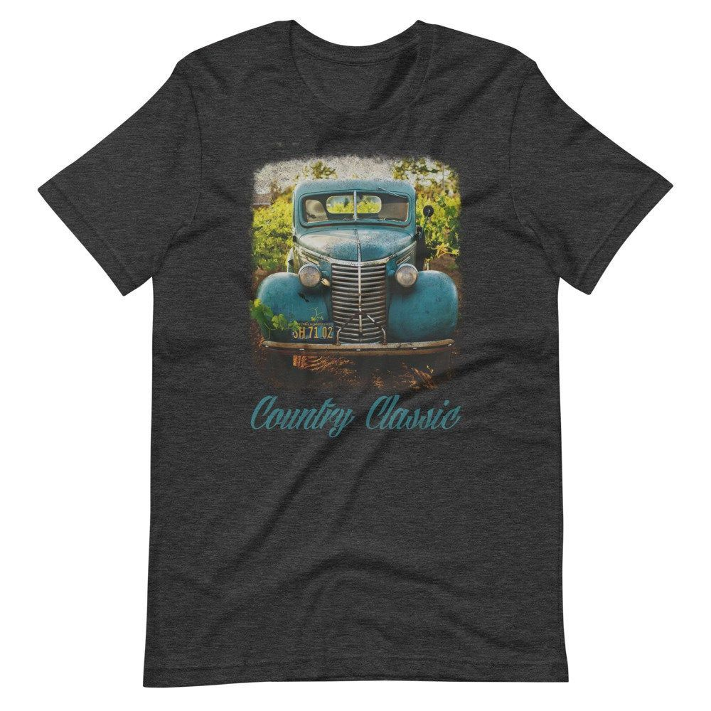 Country Classic Vintage Turquoise Truck Short-Sleeve Unisex T-Shirt – Classic Cars Car Show Old Truck Pick Up Truck Farm Life Country Life