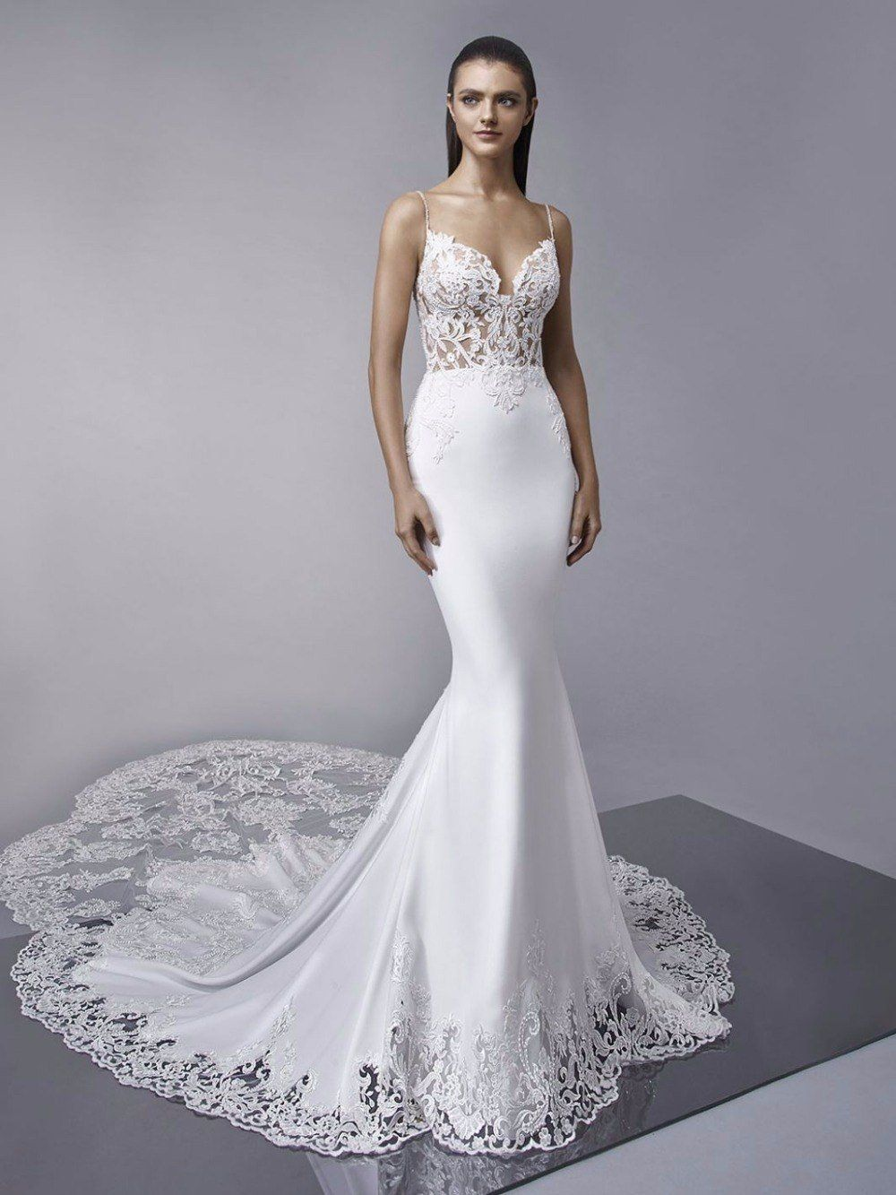 Royal train mermaid wedding dresses lace appliques boho wedding