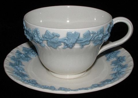 Cup And Saucer Wedgwood Queens Ware Blue On White Grapes 1960s Queens Ware