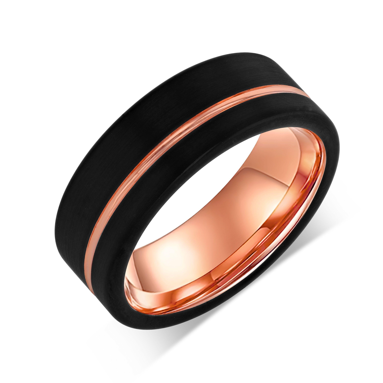 Rose Gold Tungsten Wedding Ring,Black Tungsten Wedding Ring,Anniversary Ring,Engagement Ring,Black Wedding Ring,8mm Tungsten Ring,Unique