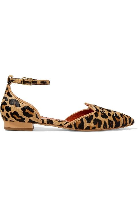 Charlotte Olympia Brogue Kitty embroidered leopard-print calf hair  point-toe flats, on sale here: