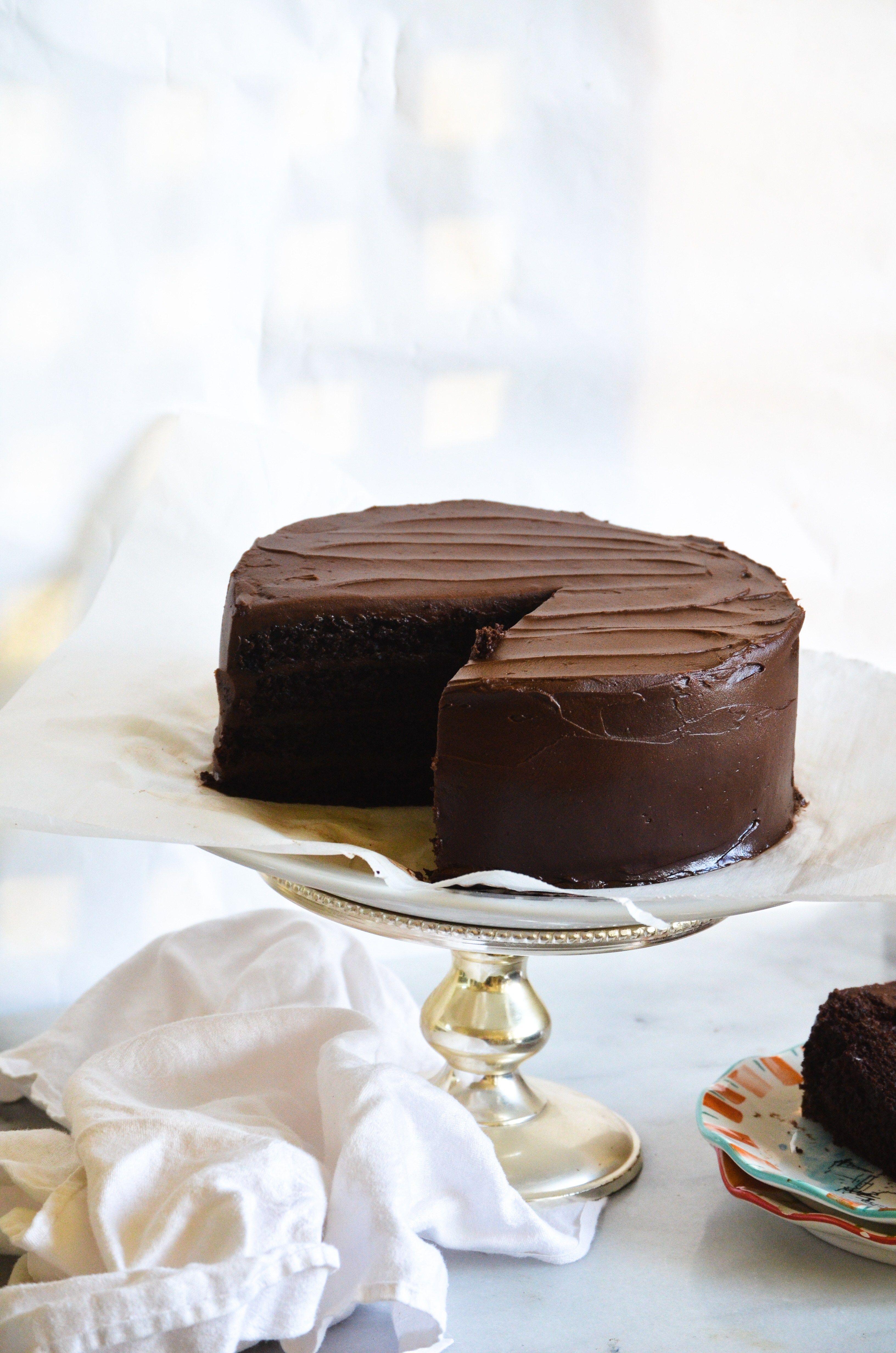 Dark Chocolate Cake With Chocolate Sour Cream Frosting Recipe Sour Cream Chocolate Cake Sour Cream Cake Dark Chocolate Cakes