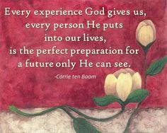 """AMEN! Thank you for sharing this miss Laurie, it means so much :)! """"Every experience God gives us, every person He puts into our lives, is the perfect preparation for a future only He can see.""""  - Corrie ten Boom"""