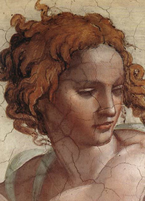 Detail from The Prophet Ezekie fresco — 1508-12,  Sistine Chapel. Michelangelo