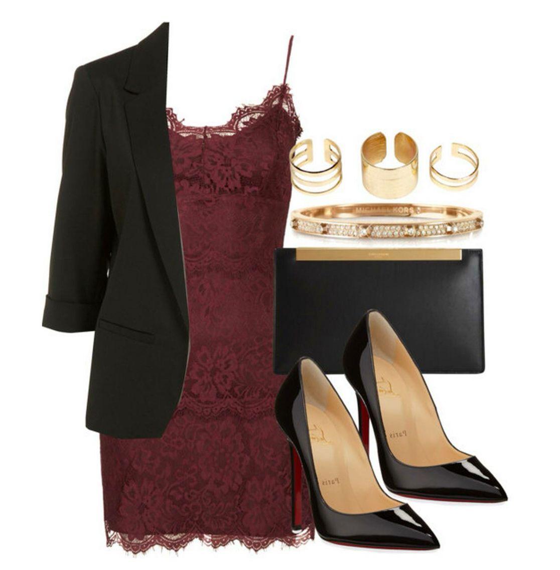 Burgandy Dress Black Gold Accessories Womens Fashion Inspiration Fashion Dressy Casual [ 1136 x 1116 Pixel ]