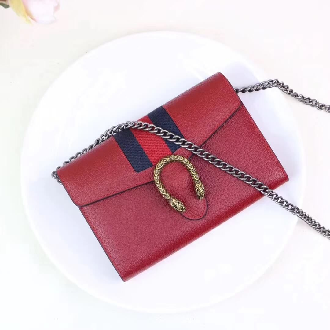 Gucci Dionysus Leather Mini Chain Bag with Web 401231 Red 2017 ... 85bf488ae5c5d
