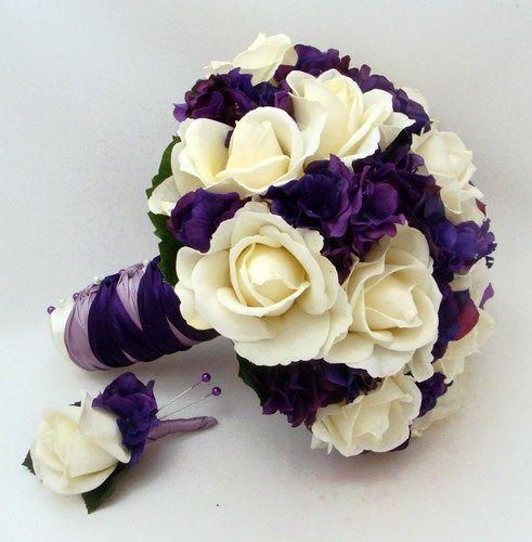 Purple White Rose Bouquet