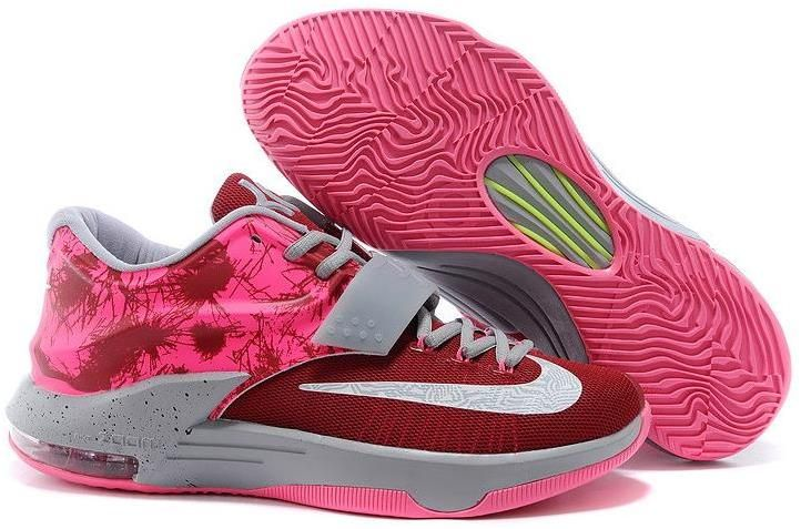 in stock 598f4 ed5ce Nike KD VII 7 Pink Grey Red White