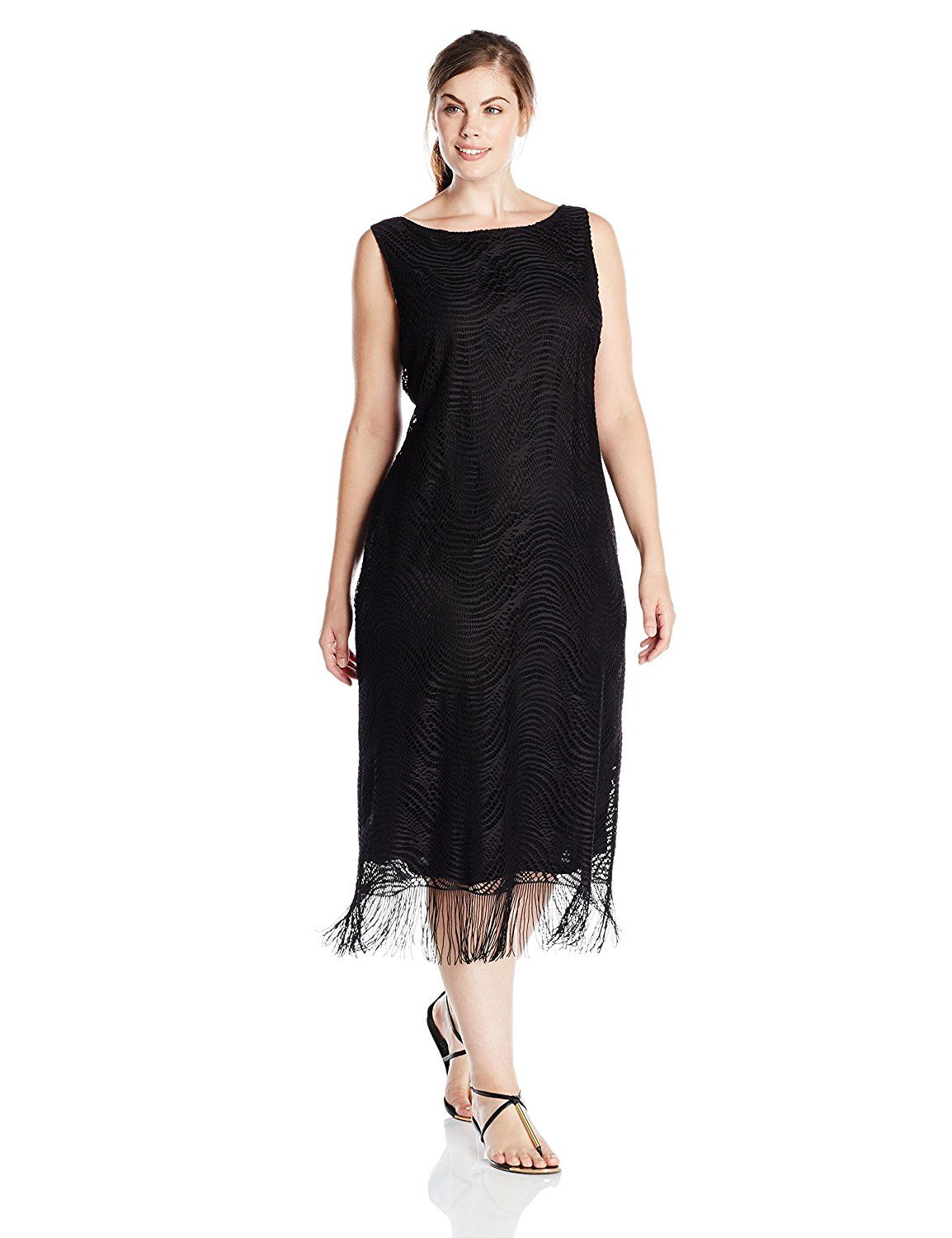 56625da07b1 Tiana B Women s Plus-Size Sleeveless Fringe Crochet Lace Maxi and Tie At  Waist   To view further