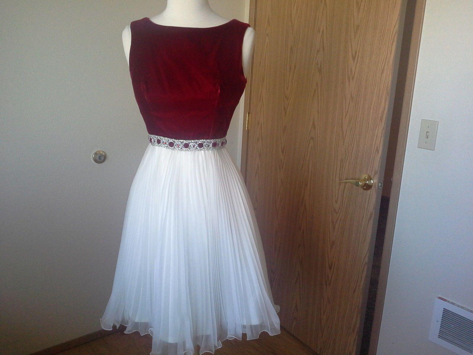 Vtg s red velvet white chiffon accordian pleat skirt prom party