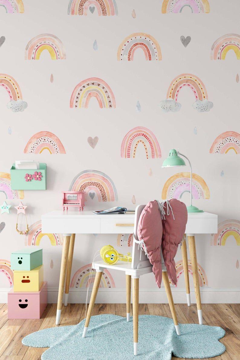 Watercolor Rainbow Rain Clouds Hearts Wallpaper Self Adhesive Etsy Kids Room Murals Kid Room Decor Animal Bedroom