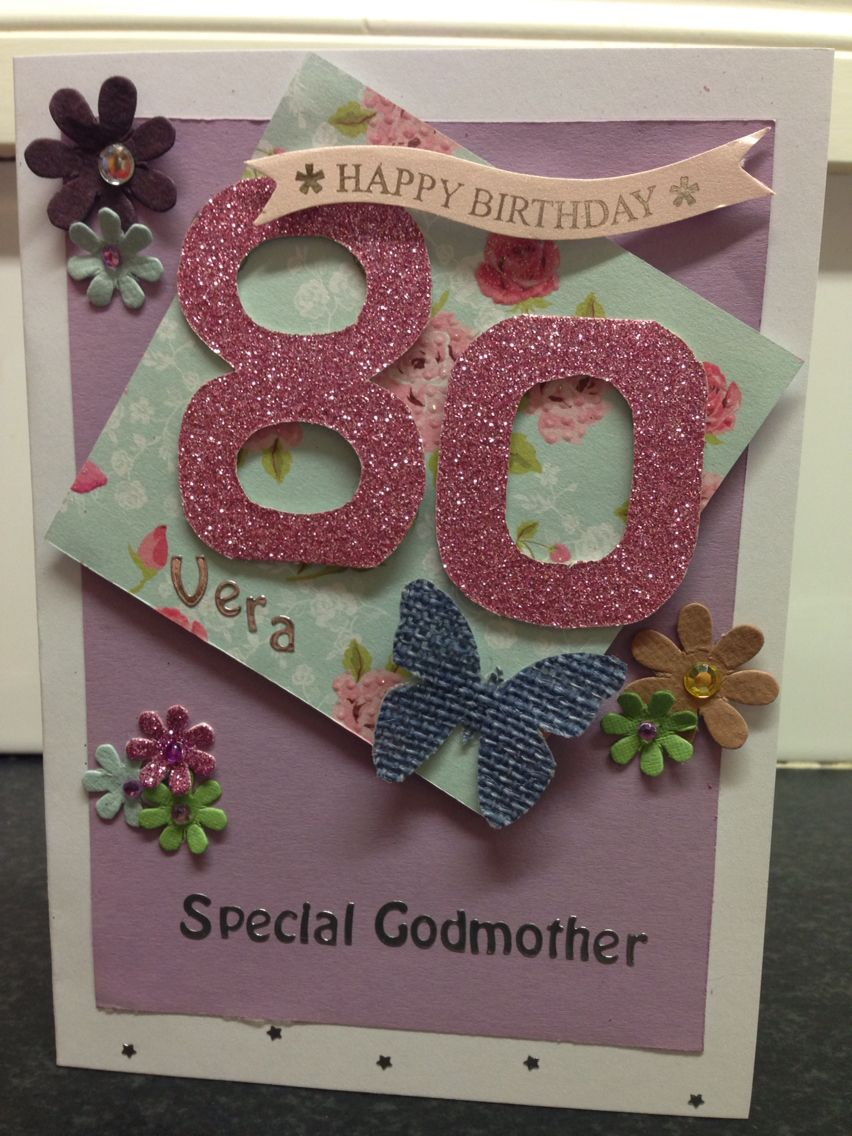 Personalised 80th Birthday Card Feminine But Fun With Flowers And Butterflies