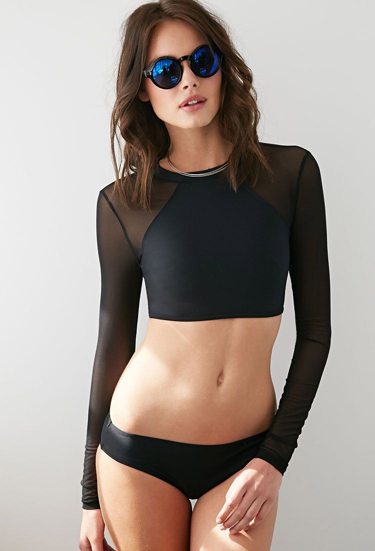 cb45342530 $19 Mesh Rashguard Swimsuit Top | Forever 21 - 2000080630 | Curves ...