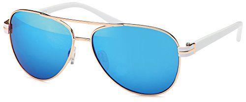 Valezan- Elegante Sonnenbrille in Pilotenform mit Kunststoffbügeln in gold oder silber mit braunen oder smoke Gläsern in 4 Farben, Sonnenbrillen online 2015 (gold glänzend weiß -blau)