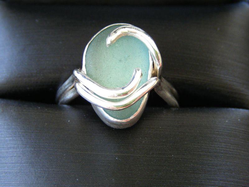 خاتم خطوبة بالصور 4 Sea Glass Ring Jewelry Bezel Jewelry