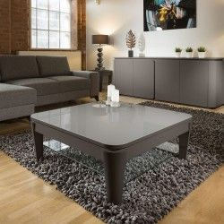 Large Luxury Square Boston Coffee Table Grey Oak Glass Top 100x100cm Coffee Table Modern Coffee Tables Table