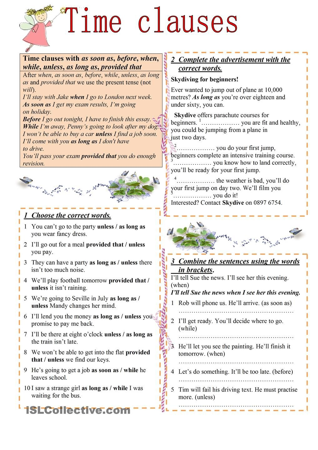 Time Clauses Grammar And Vocabulary Clause Grammar Worksheets