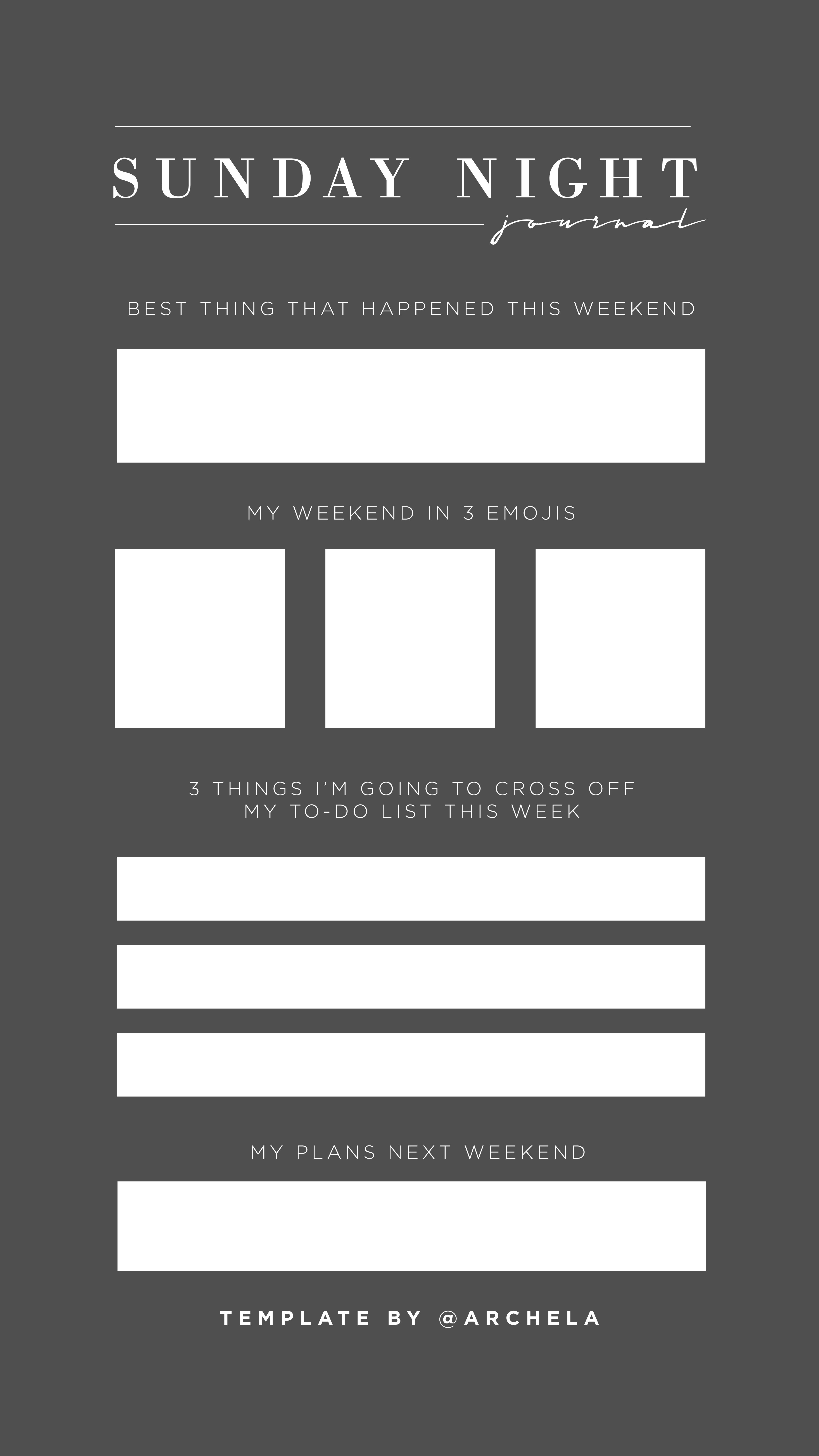 Sunday Night Journal Reflection For Instagram Stories Template Ig Stories Instagram Story Template Instagram Template Story Template