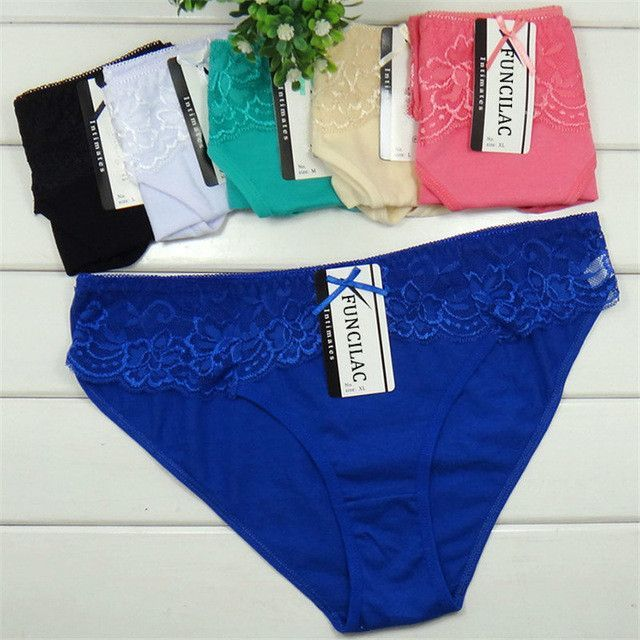 FUNCILAC Lot 5 pcs Women s Underwear Cotton Sexy Lace Panties Everyday  Briefs Lingerie Girls Ladies Knickers f42de0ac3