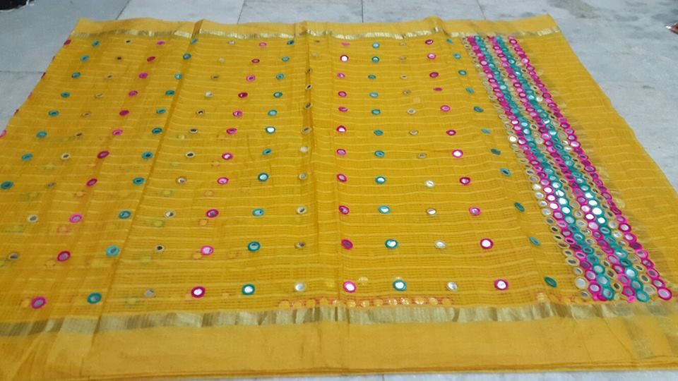 29e1bcaad3e54 New Arrival Glass Kota Mirror Work Saree