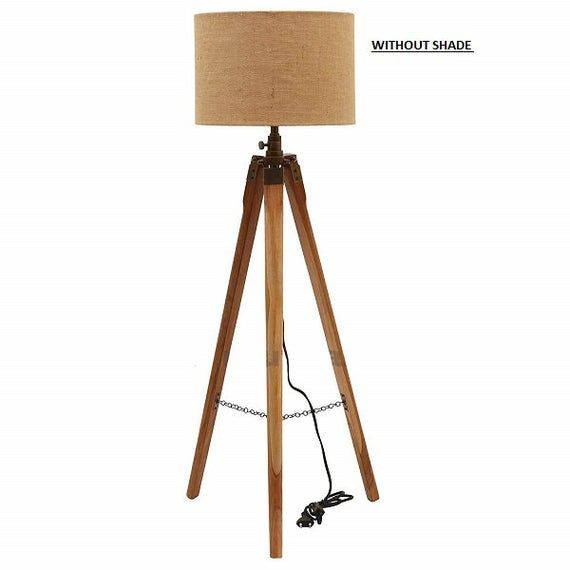 Wooden Tripod Floor Lamp Stand Without Shade and Bulb Teak Wood And Antique