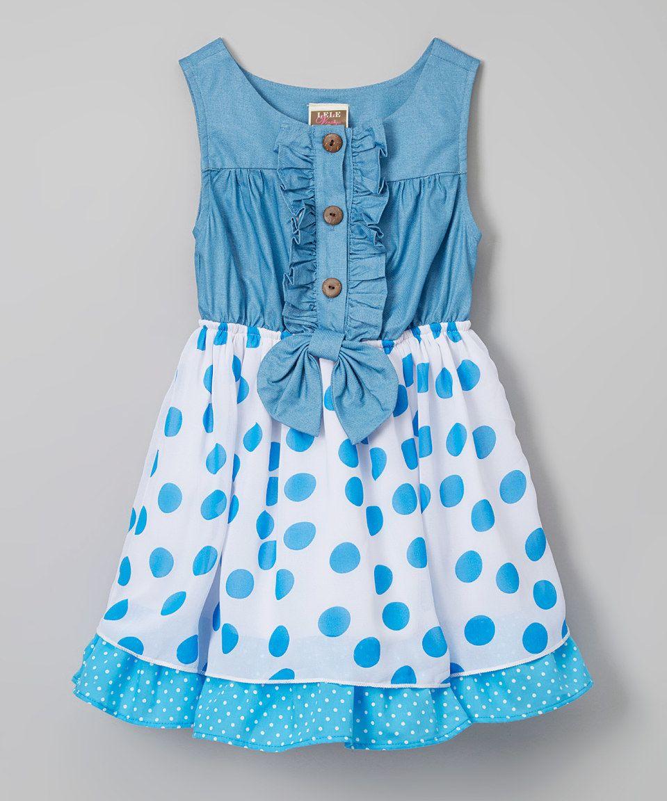 ee205e3b2 This Aqua Polka Dot Denim Dress - Toddler & Girls by Lele Vintage is  perfect! #zulilyfinds