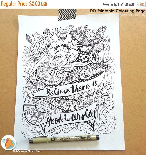 SALE Adult Colouring Page Printable Adult Coloring Book Page Inspirational Quote Digital Illustration  sc 1 st  Pinterest & Adult Colouring Page Printable Adult Coloring Book Page ...