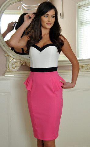 Colour Block Pink Black Sweetheart Dress www.ladyvb.com